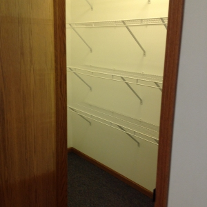 One of two spacious walk in storage closets